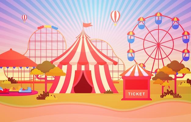 Zirkus karneval festival fun fair mit feuerwerk landschaft Premium Vektoren