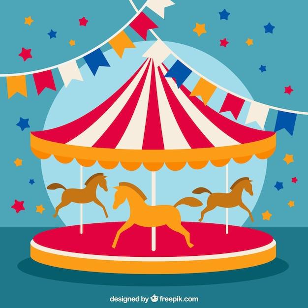 Zirkus karussell illustration Kostenlosen Vektoren