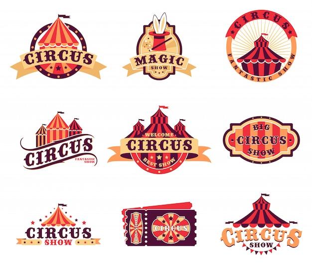 Zirkus logo und aufkleber gesetzt Kostenlosen Vektoren