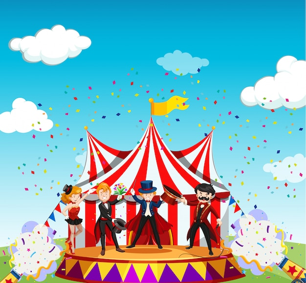Zirkus mit karnevalsthemaszene im karikaturstil Kostenlosen Vektoren