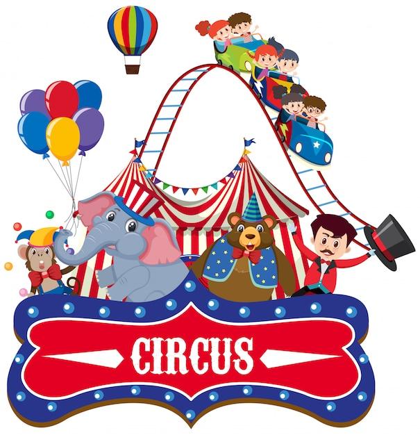 Zirkus mit ringmeister und tieren Premium Vektoren