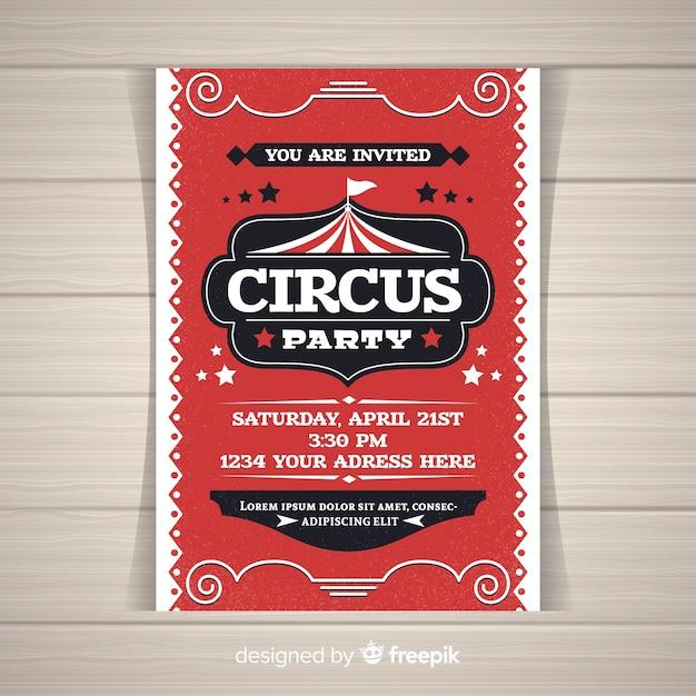 Zirkus-party-einladungskarte Kostenlosen Vektoren