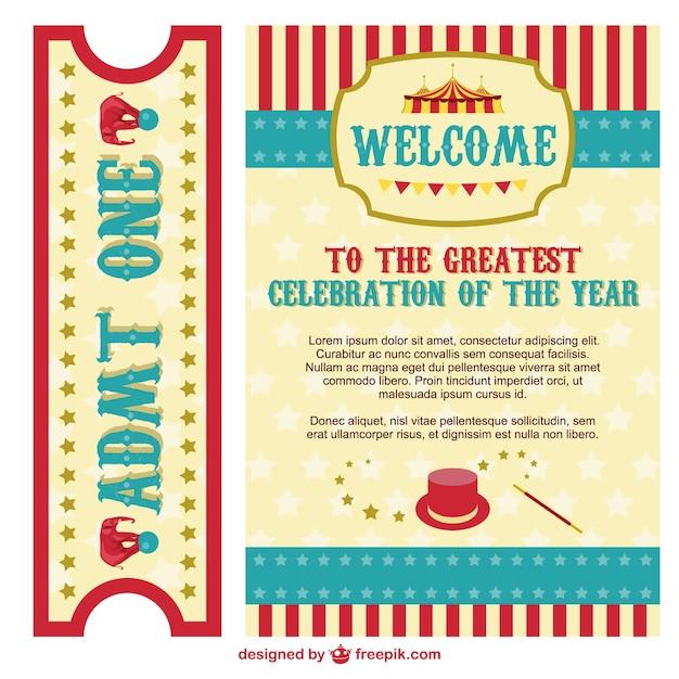 Zirkus-Plakat-und Ticket-Pack   Download der kostenlosen Vektor