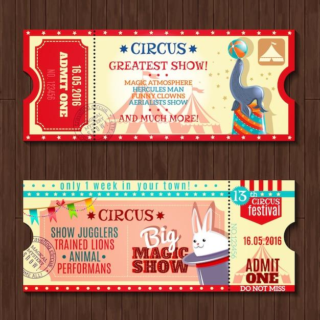 Zirkus-show zwei vintage-tickets gesetzt Kostenlosen Vektoren