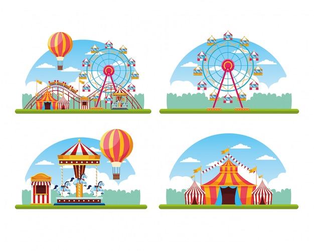 Zirkusfestival angemessener satz landschaft Kostenlosen Vektoren
