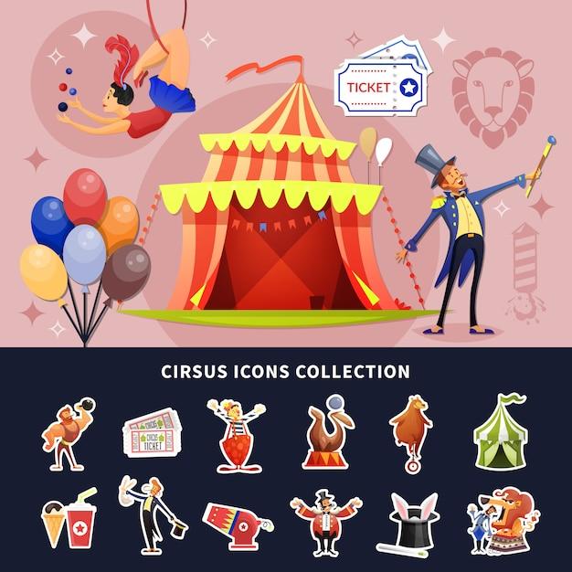 Zirkusikonen und -illustration Kostenlosen Vektoren