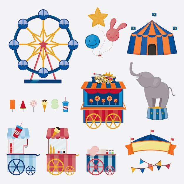 Zirkusikonensammlung nette unterhaltungsgegenstände der vektorillustration. Premium Vektoren