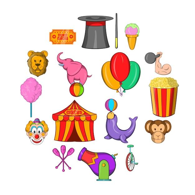 Zirkusikonensatz, karikaturart Premium Vektoren