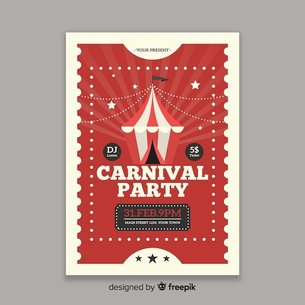 Zirkuskarneval-party-plakat Kostenlosen Vektoren