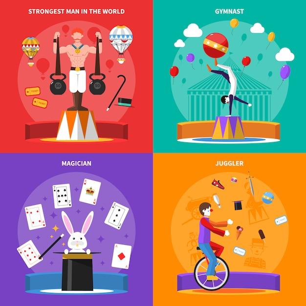 Zirkuskonzept icons set Kostenlosen Vektoren
