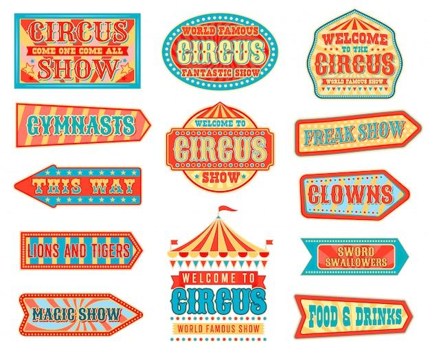 Zirkuspfeilzeiger mit karnevalszelten Premium Vektoren