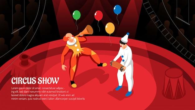 Zirkusshow mit clownleistung in den strahlen des scheinwerfers isometrisch horizontal Kostenlosen Vektoren