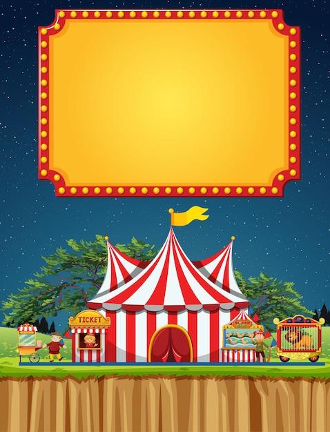 Zirkusszene mit fahnenschablone im himmel Kostenlosen Vektoren