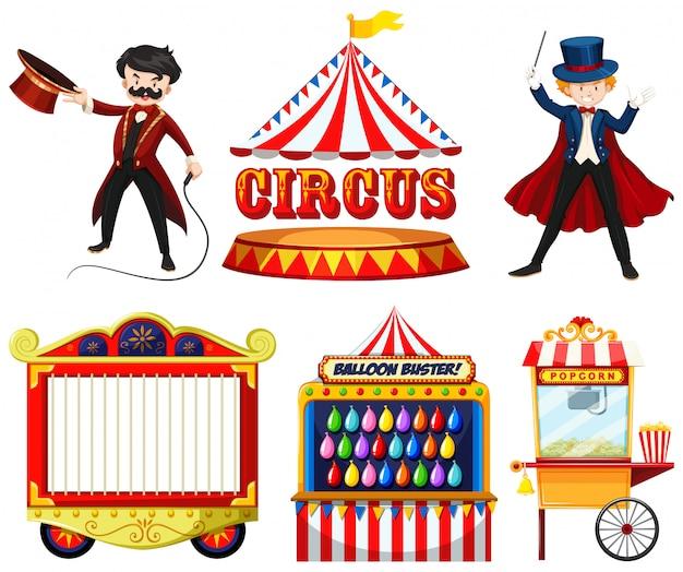 Zirkusthemaobjekte mit zauberer, zelt, käfig, spielen und essensstand Kostenlosen Vektoren