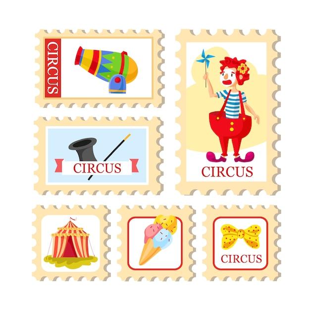 Zirkusticket karnevalsplakat. zirkus show. verschiedene zirkuskünstler. Kostenlosen Vektoren