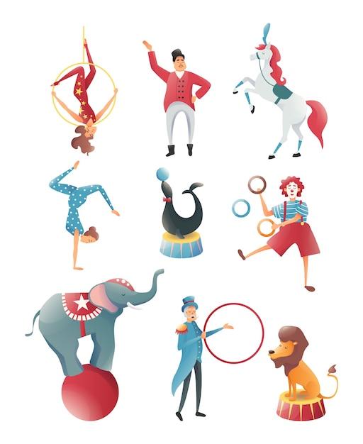 Zirkustiere, akrobatische tiertricks, zirkusvorstellungen von familienakrobaten Premium Vektoren