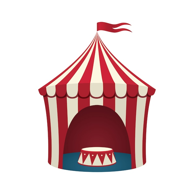 Zirkuszelt auf weißem hintergrund. illustration. Premium Vektoren