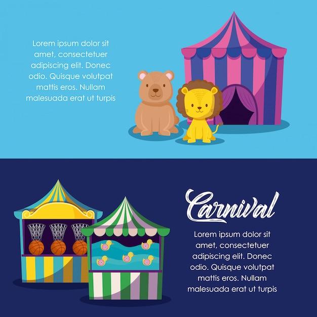 Zirkuszelt mit niedlichen tieren und spielen Premium Vektoren