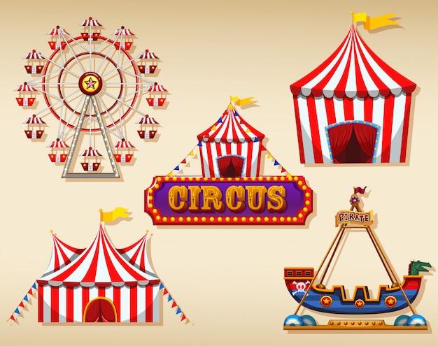 Zirkuszelte und zeichen Kostenlosen Vektoren