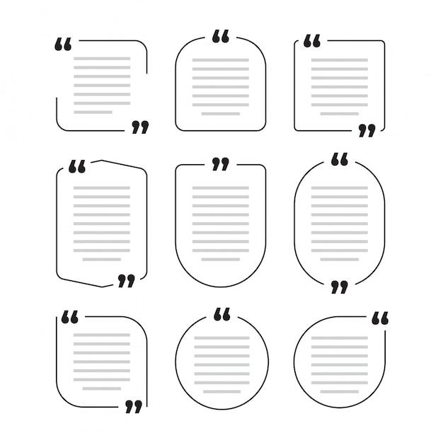 Zitat kastenrahmen, großes set. texting anführungszeichenkästen. farbiges leeres schablonenzitat-textinformationsdesignboxzitat-blasenblog zitiert symbole Premium Vektoren