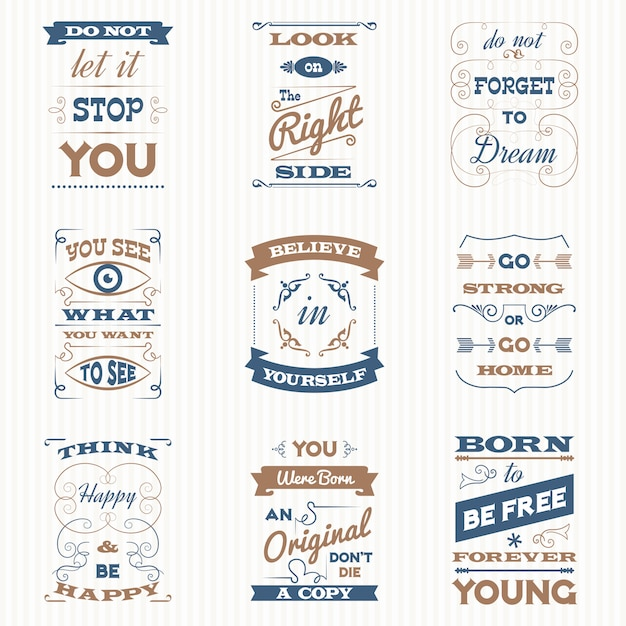 Zitate-typografie-retro-set Kostenlosen Vektoren