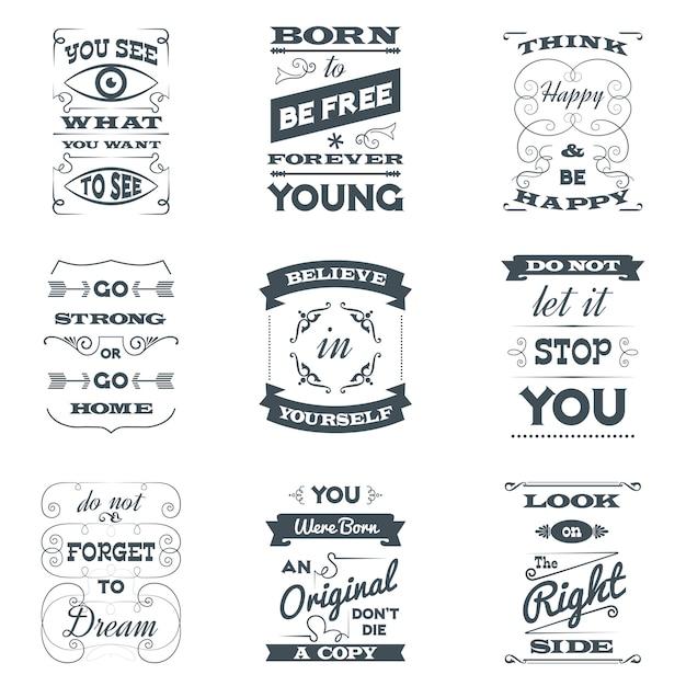 Zitate typografie-set Kostenlosen Vektoren