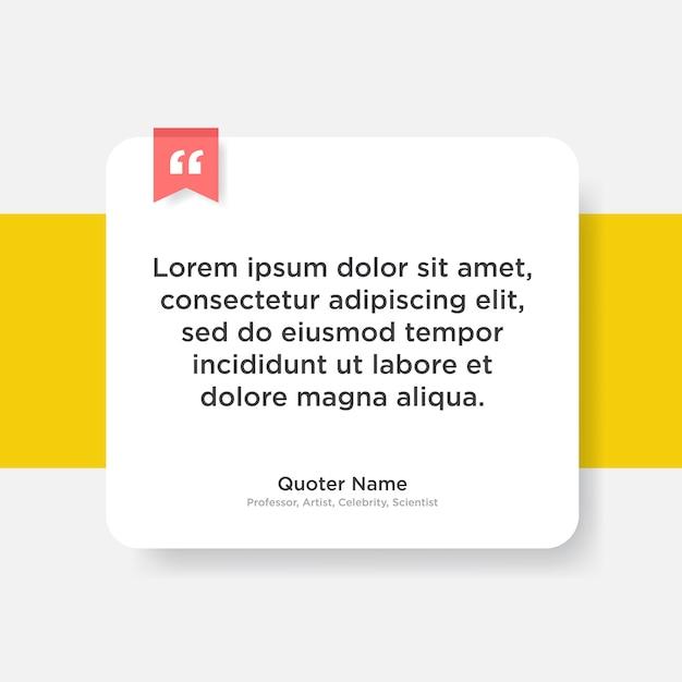 Zitieren sie die vorlage mit dem textplatzhalter im trendigen papierstil Premium Vektoren