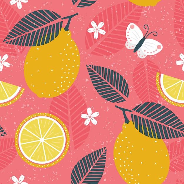 Zitrone, die patten mit schmutzeffekt wiederholt Premium Vektoren