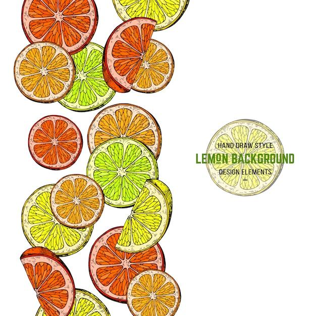 Zitrone illustratrion gekritzelart Premium Vektoren