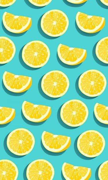 Zitrone trägt nahtloses muster der scheibe früchte Premium Vektoren