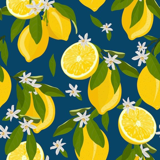 Zitrone trägt nahtloses muster mit blumen und blättern früchte Premium Vektoren