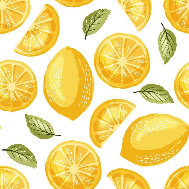 Zitronen nahtlose muster Premium Vektoren