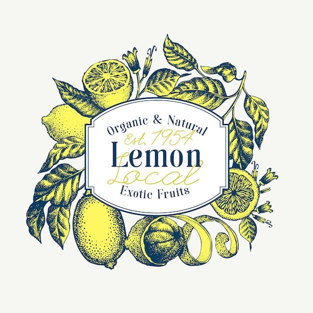 Zitronenbaum banner. hand gezeichnete vektorfruchtillustration. gravierter stil. retro zitrusfrüchte Premium Vektoren