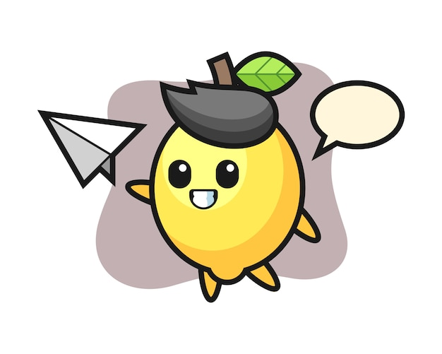 Zitronenkarikaturfigur, die papierflugzeug wirft Premium Vektoren