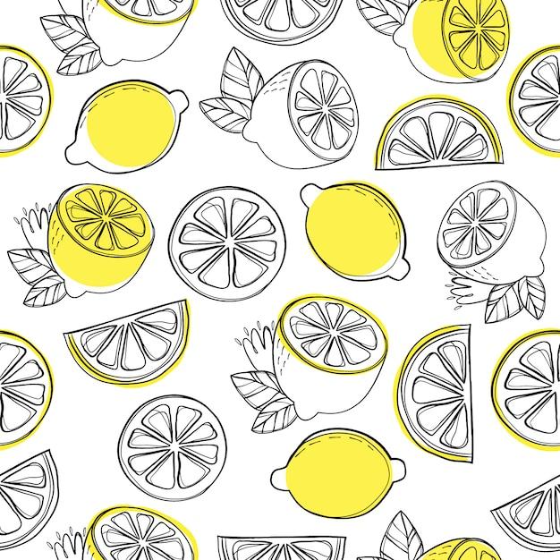 Zitronenmuster hintergrund Premium Vektoren