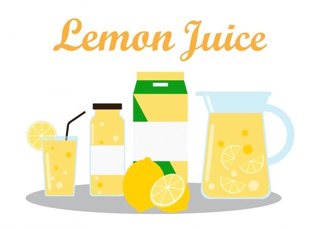 Zitronensaft mit packvorlage verpackungsdesign Premium Vektoren