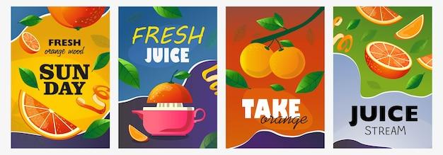 Zitrusplakate gesetzt. ganze und geschnittene früchte, orangenbaumzweigvektorillustrationen mit text. food and drink-konzept für das design von frischen bar-flyern und broschüren Kostenlosen Vektoren