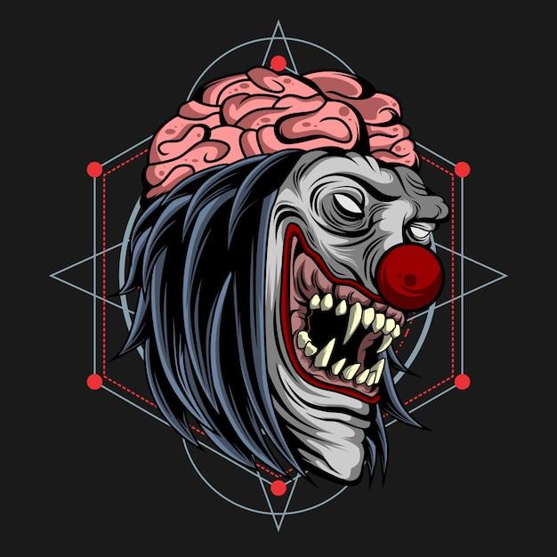 Zombie clown gehirn raus Premium Vektoren