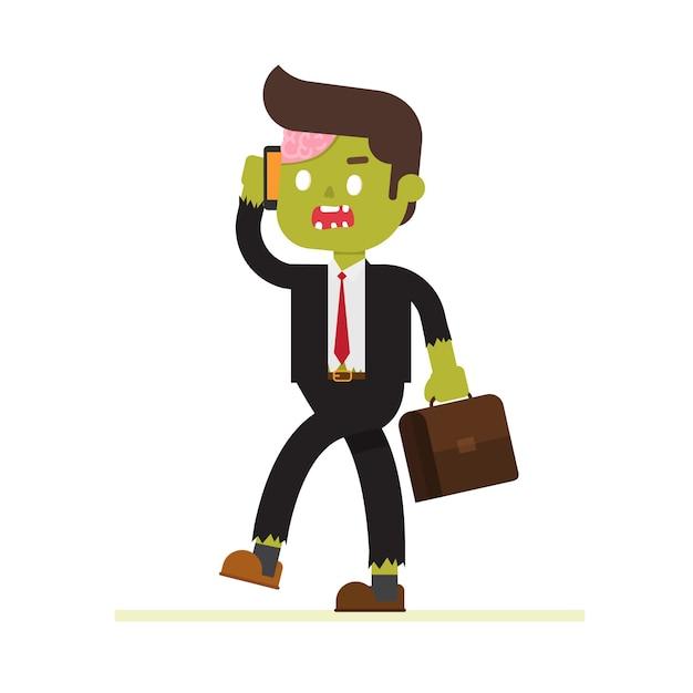 Zombie geschäftsmann für halloween Premium Vektoren