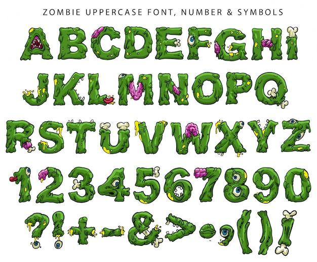 Zombie großbuchstaben, zahlen und symbole Premium Vektoren