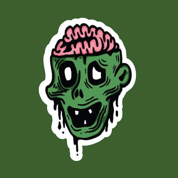 Zombie-hauptcharakter-halloween-aufkleber Premium Vektoren