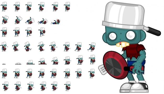 Zombie mit pan game sprite Premium Vektoren