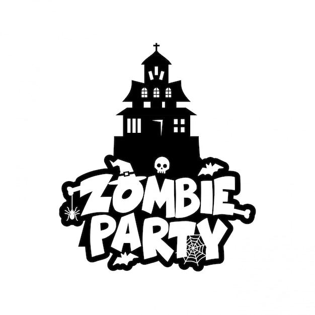 Zombie-party-typografie-design-vektor Kostenlosen Vektoren