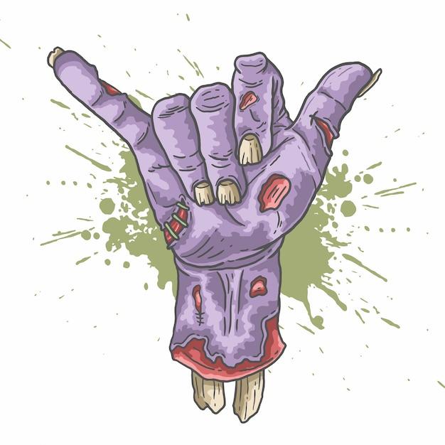 Zombie shaka hand abbildung vektor Premium Vektoren
