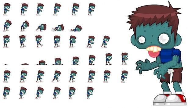 Zombie-spiel sprite Premium Vektoren