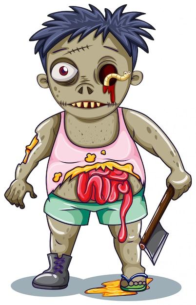 Zombiecharakter auf weißem hintergrund Kostenlosen Vektoren