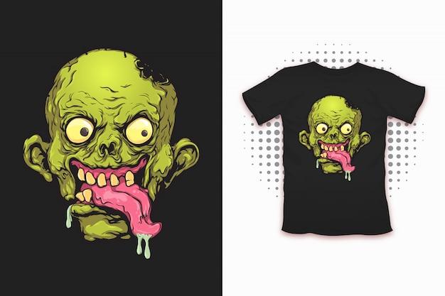 Zombiedruck für t-shirt design Premium Vektoren