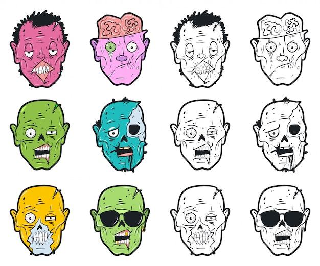 Zombieköpfe eingestellt. Premium Vektoren