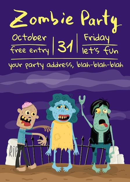 Zombieparteiplakat mit monstergruppe im kirchhof Premium Vektoren