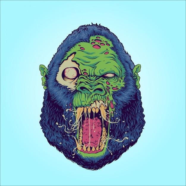 Zombierilla: zombie-gorilla Premium Vektoren
